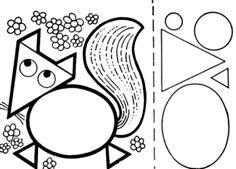 Fox in geometric shapes - Trend Disney Stuff 2019 Preschool Learning Activities, Preschool Art, Preschool Worksheets, Teaching Geometry, Teaching Shapes, Fall Crafts For Kids, Art For Kids, Basic Geometry, Geometry