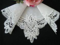 Vintage Linen Wedding Hankie Tape Lace WH051