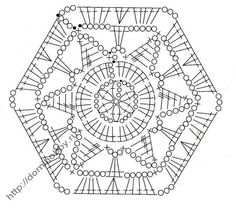 Hexagon with crochet pattern Crochet Squares, Crochet Motif Patterns, Crochet Blocks, Granny Square Crochet Pattern, Crochet Diagram, Crochet Mandala, Crochet Chart, Crochet Granny, Irish Crochet