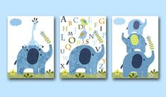 Alphabet Nursery Elephant Nursery Giraffe Nursery Printable Art Instant Download Digital Download Art Baby Room Decor Set of 3 8x10 11X14
