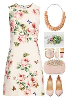 """""""Floral Dress"""" by gicreazioni ❤ liked on Polyvore featuring Dolce&Gabbana, Christian Louboutin, Dune, Too Faced Cosmetics and Yves Saint Laurent"""