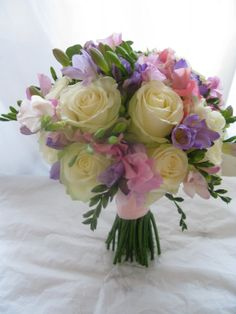 Sweet pea bouquets and possible table centres...
