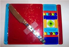 Fused glass cheese plate in red with matching spreader!