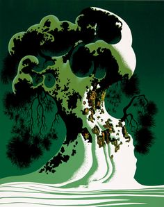 "© 2006 Eyvind Earle Publishing Title:Snow Covered Bonsai     20"" X 16""               To Order  ----  Please Call    831-625-1738 or Email:    info@gallery21.com"
