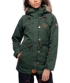 31edfb8c218 Introducing the Katniss 10K snowboard jacket in dark green from Picture.  Designed for a more. Zumiez