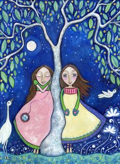 Two Girls Sisters Twins Art Print best friends by LindyLonghurst