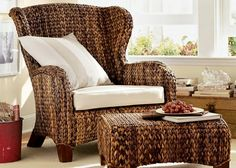 Pottery Barn Havana Weave Seagrass Wingback Outdoor/Patio Arm Chair - $320