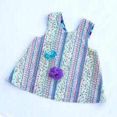 Girls Reversible Apron Dress Pinafore Crossover 1960s Purple