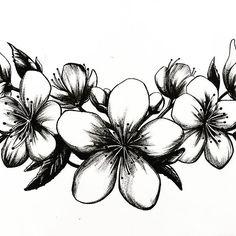 【angel_rotten】さんのInstagramをピンしています。 《Flores de Cerezo  #tattoo #sakura #ink #black #design #draw #drawing #illustration #instaart #art #artist #artistic #instadraw #pendrawing #pen #flowers #arte #dibujo #tatuaje #flores #tinta #photo #2017 #桜 #cherryblossoms》
