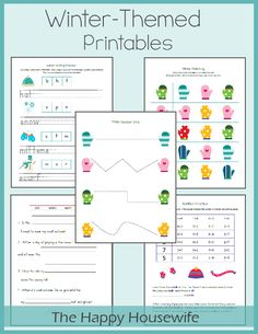 January Winter Themed Printables 2013 - great for early Kindergarten