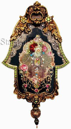 Michal Negrin Victorian Style Roses Wall Decor Hamsa