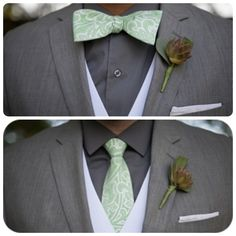 Two grooms, one bowtie and one necktie. Gay wedding, grey and green color scheme.