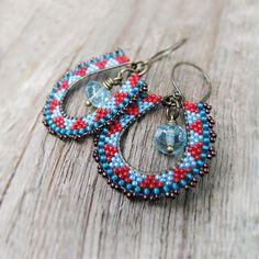 Red and Blue Beaded Hoops, Geometric Beadwork, Southwest Inspired, Brass Oval Hoop Earrings, Seed Bead Earrings