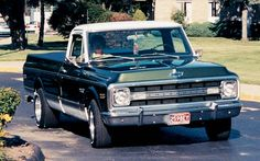 1970? K10 Chevy pick-up. LOVE the  Chevrolet spelled out in the front