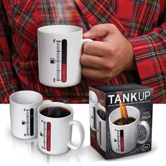 Tank Up Coffee Mug - This porcelain coffee mug has heat-sensitive printing with a gauge that climbs when a beverage is added. These mugs are microwave and food safe.
