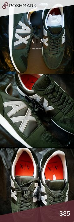 A X Armani Exchange Men's Retro Running Sneakee - Polyester, Polymide, PolyurethaneImported - Rubber sole - Shaft measures approximately low-top from arch - Mixed-material running-style sneaker featuring AX side logos with contrast trim and stamped Armani Exchange text - Flexible sole - Lace-up closure with flat laces Armani Exchange Shoes Sneakers