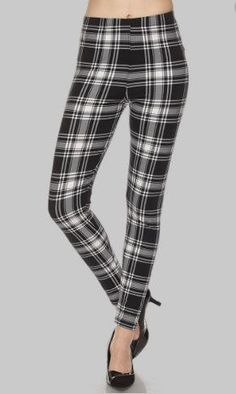 Plaid Leggings (Black/White)