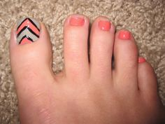 Manicure Monday (Orange and Glitter Julep Polish) and Monthly Pedicure (Coral and Grey Striped Toes)! Pink Manicure, Toe Nails, Grey Stripes, Beauty Nails, Pedicure, Coral, Polish, Glitter, Blog