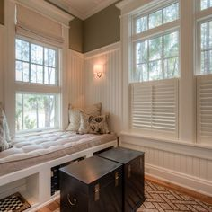 Plantations shutters on lower half could be done in girls' bedrooms as well with a fabric treatment layered for blackout.