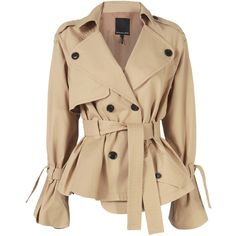 Marissa Webb Winfield Short Trench Coat (1.680 BRL) ❤ liked on Polyvore featuring outerwear, coats, jackets, beige trench coat, cotton trench coat, beige coat, short trench coat and cotton coat
