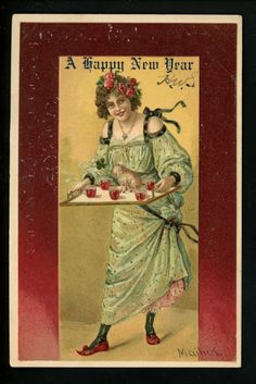 Artist Signed Vintage postcard A. Mailick New Years Greetings #5617