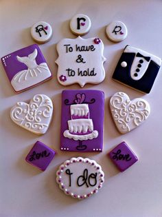 Wedding Cookies by SweetCBakeShop on Etsy Cut Out Cookies, Cute Cookies, Cupcake Cookies, Sugar Cookies, Wedding Cake Cookies, Wedding Cupcakes, Engagement Cookies, Anniversary Cookies, Cookie Designs