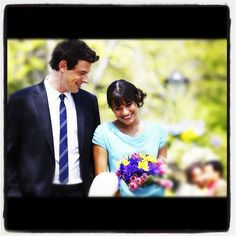 Lea Michele and Cory Monteith in NYC filming Glee