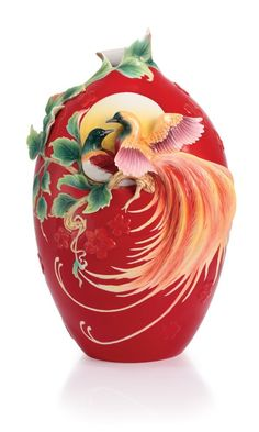 Franz Porcelain Vase - Double Birds of Paradise Design - Mid Autumn Collection