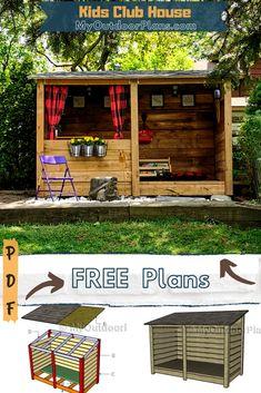 Pallet Playhouse, Backyard Playhouse, Backyard Playground, Backyard For Kids, Backyard Projects, Outdoor Projects, Backyard Patio, Cubby Houses, Play Houses