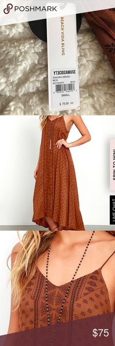 """AMUSE SOCIETY SAKURA BROWN PRINT MIDI DRESS Lightweight woven fabric in a brown and black Boho print shapes a triangle bodice with long slender straps that cross and tie at back.  Unlined. Dress measures 7"""" longer at back. 100% Viscose. Hand Wash Cold. Imported. Amuse Society Dresses Maxi"""
