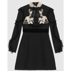 Gucci Crêpe Wool-Silk Dress ($5,100) ❤ liked on Polyvore featuring dresses, black, embroidery dresses, beaded dress, frilly dresses, silk dress and dog dresses