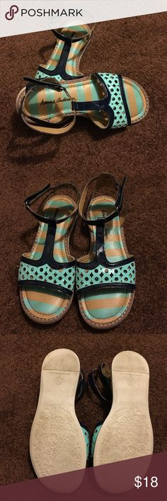 💞Hanna Andersson girls sandals Hanna Andersson girls aqua and navy sandals.  Velcro ankle strap - size 13. Tiny mark on top of left sandal (see picture) otherwise EUC. Hanna Andersson Shoes Sandals & Flip Flops