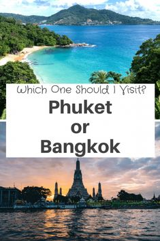 Phuket or Bangkok, Which One Should You Visit?#Phuket and Bangkok are both popular places to visit in Thailand. Phuket is a busy resort island that tends people that just to relax on the #beach. While #Bangkok is a megacity that is a #foodies #paradise and attracts people from every walk of life. Let's explore this in more detail! Thailand Destinations, Thailand Travel Tips, Thailand Shopping, Phuket Thailand, Best Beaches In Phuket, Freedom Beach, Khao San Road, Where To Go, Travel Around