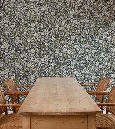 makelike (a shop) Perennial Wallpaper: White on Dark Grey