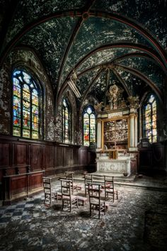 Abandoned Church .. lovely stained glass                              …                                                                                                                                                                                 More                                                                                                                                                                                 More