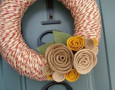 Yarn Wreath Felt Handmade Door Decoration  Tan and Red by ItzFitz, $35.00
