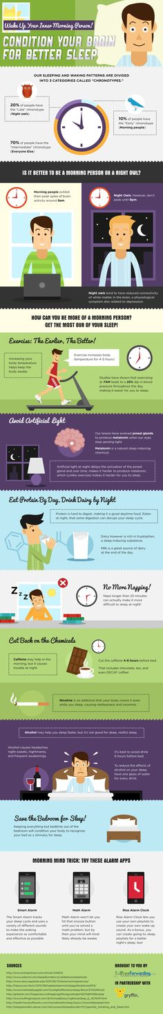 Wake Up Your Inner Morning Person! Condition Your Brain for Better Sleep! #infographic