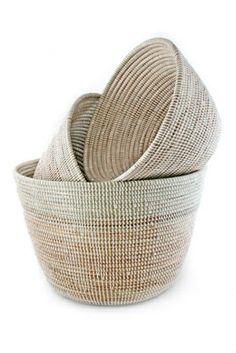 White Deep-V Prayer Mat Nesting Baskets