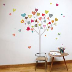 Heart Tree Kid Wall Sticker--love this idea for a canvas collage with my chicks