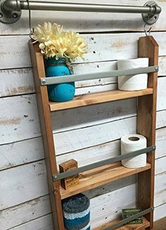 Wooden Wall Shelf, rustic bathroom shelf, industrial shelf, farmhouse shelf, cottage chic, home décor, shelf w/pipe towel bar. Presenting a unique wooden wall shelf for your bathroom that is sure to tidy up your home. This wood and metal wall decor ladder shelf will keep you organized. This cute piece of home decor is perfect accent to your bathroom. The shelf area features a metal rail that keeps stored items from falling. This multi purpose ladder shelf are sure to get loads of praise…