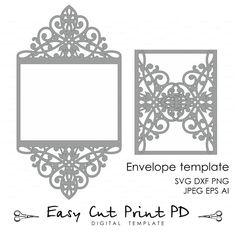 Wedding invitation Card Template Lace folds от EasyCutPrintPD
