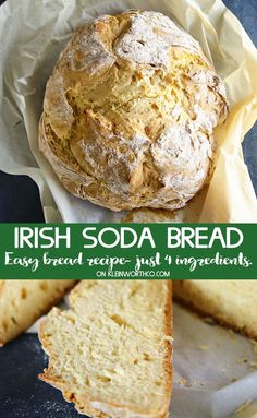 St. Patrick's Day Irish Soda Bread {Recipe} is one of those easy to make, 4-ingredient bread recipes that will have you coming back for more. So simple, no yeast & oh so delicious. Perfect for St. Patrick's Day! Easiest Bread Recipe No Yeast, No Yeast Bread, Yeast Bread Recipes, Bread Machine Recipes, Irish Soda Bread Recipes, Simple Bread Recipe, Bread Machine Irish Soda Bread Recipe, Same Day Bread Recipe, Baking Soda Bread Recipe