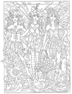 Summer Coloring Pages, Fairy Coloring Pages, Free Adult Coloring Pages, Cool Coloring Pages, Coloring Books, Elves Fantasy, Summer Colors, Tree Art, Cool Artwork