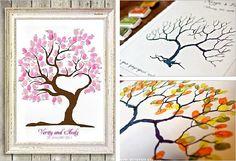 Leuk gastenboek! Vingerafdrukken als blaadjes van de boom en dan de namen erbij