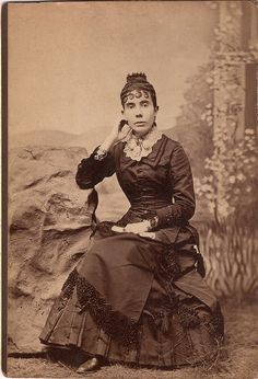 How can you not stop and admire the intricate hairdo this beautifully dressed Victorian woman is sporting?