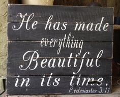 Er hat alles schön in seiner Zeit, Kohelet 03:11, Palette Zeichen, Wooden Sign, Hochzeit, Distressed, Paletten-Kunst, Französisch Land gemac...