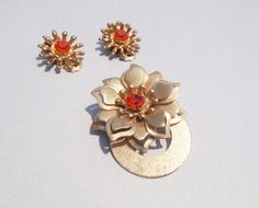 Rhinestone Flower Brooch and Vintage Earrings Set by KatieScalmato