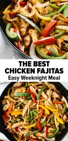 Chicken fajitas are an easy and flavorful weeknight meal. A classic Mexican recipe, juicy chicken is seasoned, seared and cooked to perfection, then tossed with sauteed bell peppers and onions. It's a healthy one-pan skillet recipe you'll love! Easy Chicken Fajita Recipe, Easy Chicken Fajitas, Homemade Fajita Seasoning, Chicken Nachos, Baked Chicken, Chicken Fajita Seasoning Recipe, Healthy Meals With Chicken, Mexican Chicken Fajitas, Recipes
