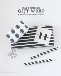 Printable Black & White (Halloween) Gift Wrap by Design Eat Repeat