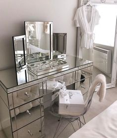 Christian Dior at home with mirrored furniture in this Art Deco-esque scheme Vanity Room, Glam Room, Mirrored Furniture, Mirrored Vanity, Makeup Rooms, Room Goals, Beauty Room, Room Closet, Bedroom Decor